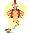 Genie Appear from Magic Lamp vector image