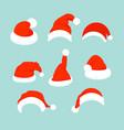 set of santa hats in flat vector image