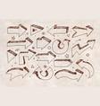 doodle sketch arrows on vintage background vector image