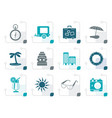 stylized travel holiday and trip icons vector image
