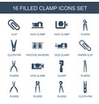 16 clamp icons vector image vector image