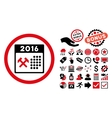 2016 Working Days Flat Icon with Bonus vector image vector image