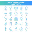 25 green and blue futuro halloween icon pack vector image
