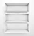 3d isolated empty white bookshelf vector image