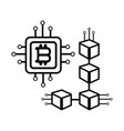 bitcoin microchip icon black and white vector image