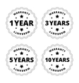 Black and white warranty stickers badges with vector image