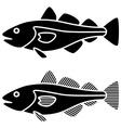 black cod fish silhouettes vector image vector image