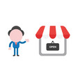 businessman character showing shop store with vector image