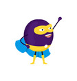 cartoon superhero character plum flat design vector image vector image