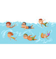 children swimming in pool cheerful and active vector image