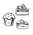 Chocolate cake cupcake and cheesecake vector image