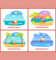 christmas vacation in july icon postcard vector image vector image