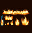 collection realistic fire flames vector image
