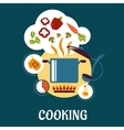 Cooking flat infographic with vegetable soup vector image