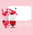 cute hearts couple with balloons helium vector image