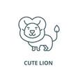 cute lion line icon cute lion outline vector image