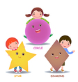 Cute little cartoon kids with basic shapes star vector image vector image