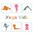 Cute yoga kids silhouettes vector image vector image