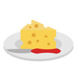 dish with cheese piece and knife vector image