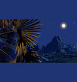 drawn night landscape of palm leaves on a vector image vector image