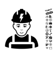 Electrician Icon With Copter Tools Bonus vector image
