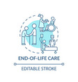 end-of-life care blue concept icon vector image vector image