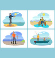 fishing images with people vector image