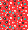 Flat Design Seamless Retro Flowers on Red vector image vector image