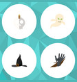 flat icon festival set ghost witch cap zombie vector image vector image