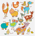 Funny cartoon farm animals vector image