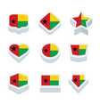 guinea bissau flags icons and button set nine vector image