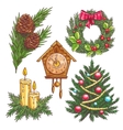 hand drawn christmas decorative elements vector image vector image