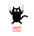 happy halloween black cat claw scratch glass cute vector image vector image