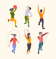 home fitness characters people sport gym vector image vector image