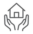 home insurance line icon estate and property vector image vector image