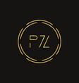 initial letter pz logo design template pz letter vector image vector image