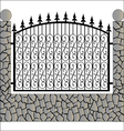 Iron fence with stone vector image vector image
