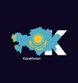 kazakhstan initial letter country with map vector image