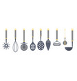kitchen utensils and cooking tools icon set vector image vector image