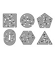 labyrinth game and maze fun puzzle set vector image