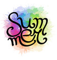 lettering summer written by hand with rainbow vector image