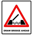 Lifting bridge warning sign icon in flat style on vector image vector image