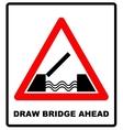 Lifting bridge warning sign icon in flat style on