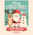 merry christmas card with santa claus reindeer vector image