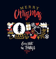 merry christmas greeting card holiday doodle vector image vector image