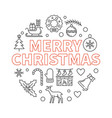 merry christmas thin line vector image vector image