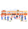outdoor food fest people in fast food cafe vector image