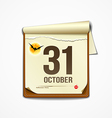 Paper October calender in halloween party vector image vector image