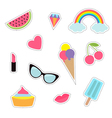 Quirky cartoon sticker patch badge set Fashion pin vector image vector image