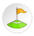 Red flag in the corner of the field icon vector image vector image